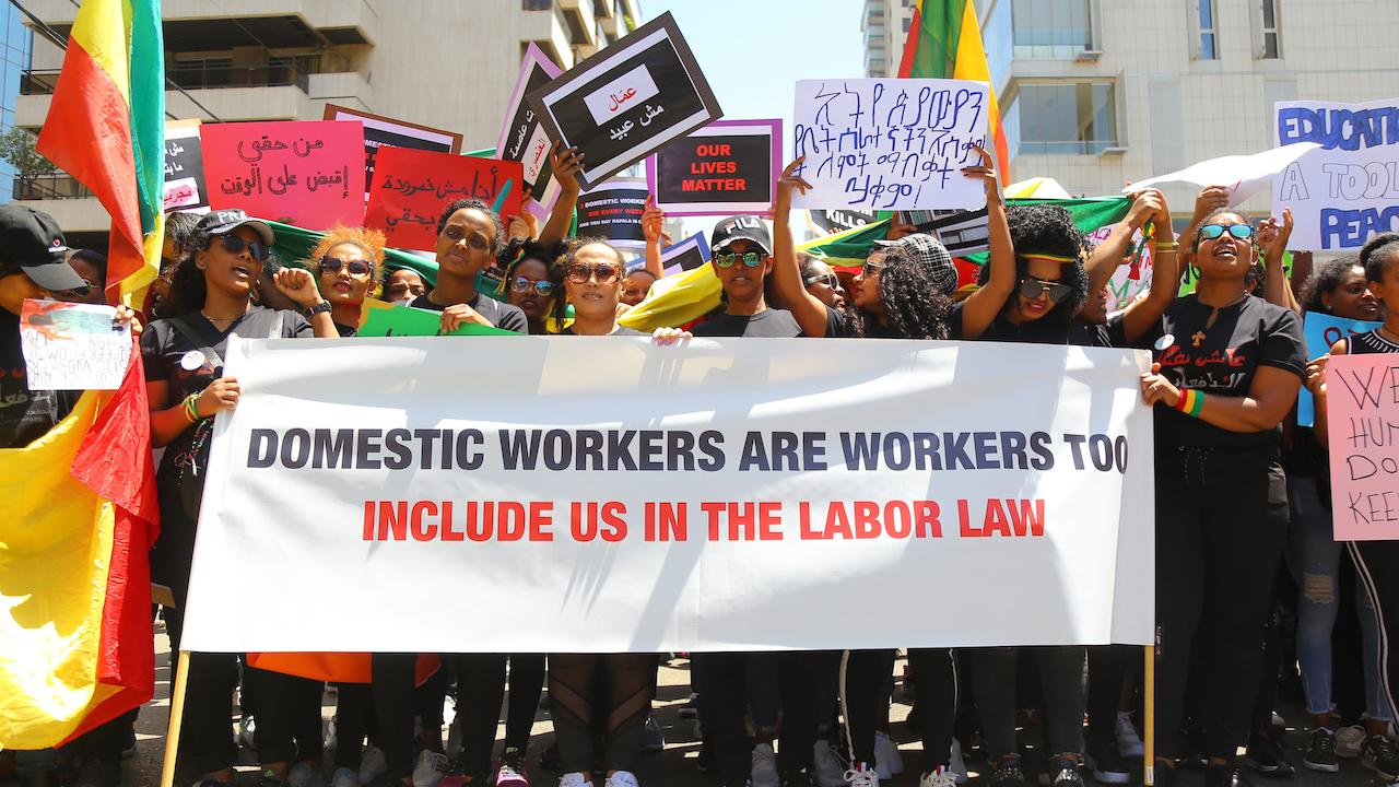 At the annual migrant workers' march, domestic workers demand the abolition of the sponsorship system. Beirut, Lebanon. May 5, 2019. (Hussein Baydoun/The Public Source)