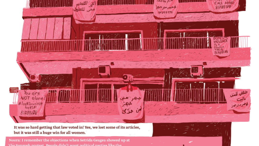"An illustration of blankets and cloth hanging from balconies with ABAAD's hotline for domestic abuse written on them, in solidarity with women imprisoned in their homes during lockdown. Source: Noora's Story in ""Where to, Marie?"" p. 33. Artist: Joan Baz."