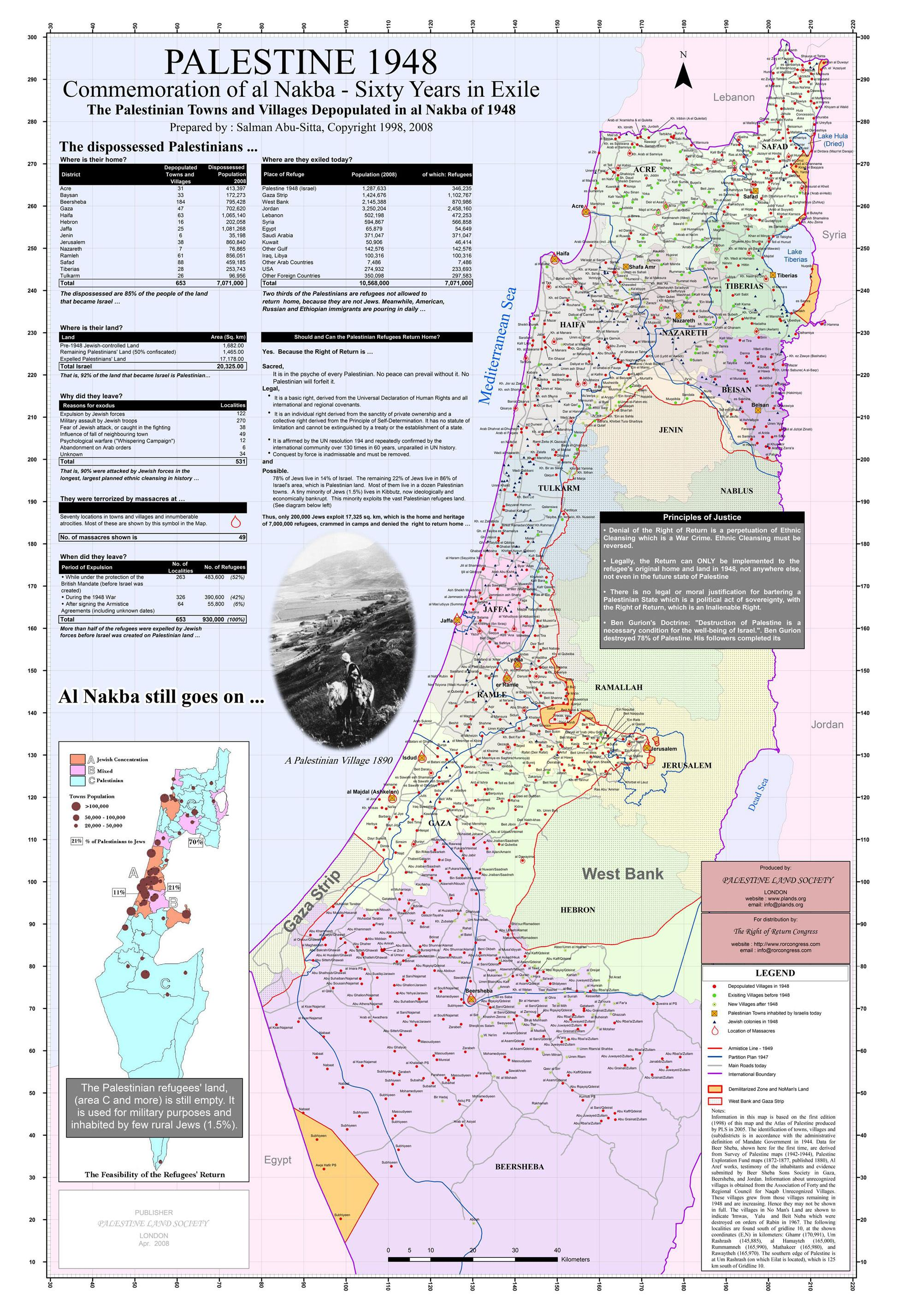 In commemoration of 60 years in exile, Abu Sitta mapped the dispossession of Palestinians and the depopulation of their villages during the ethnic cleansing of 1948. The map was produced in 1998. (Salman Abu Sitta/Palestine Land Society).