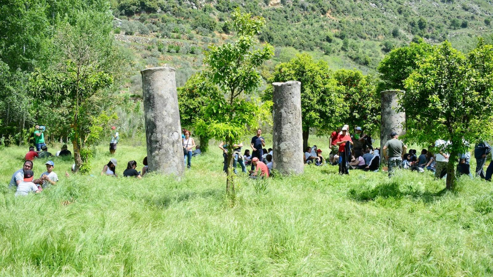 "Visitors gather by the ruins of the Ancient Roman Marj Bisri temple during a hike aimed at promoting awareness of the site's cultural and historical heritage. April 22, 2017. (Photo courtesy of ""Save the Bisri Valley Campaign"")"