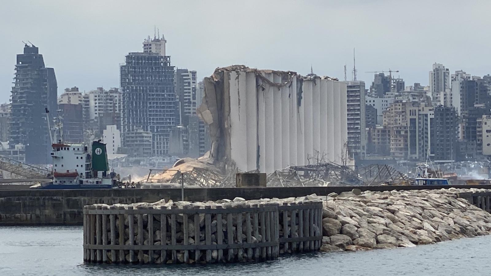 Beirut's grain silos were at the epicenter of the August 4 explosion at the port and had a capacity of 120,000 tons of grain. Beirut, Lebanon. August 6, 2020. (Zein Jaafar/The Public Source)