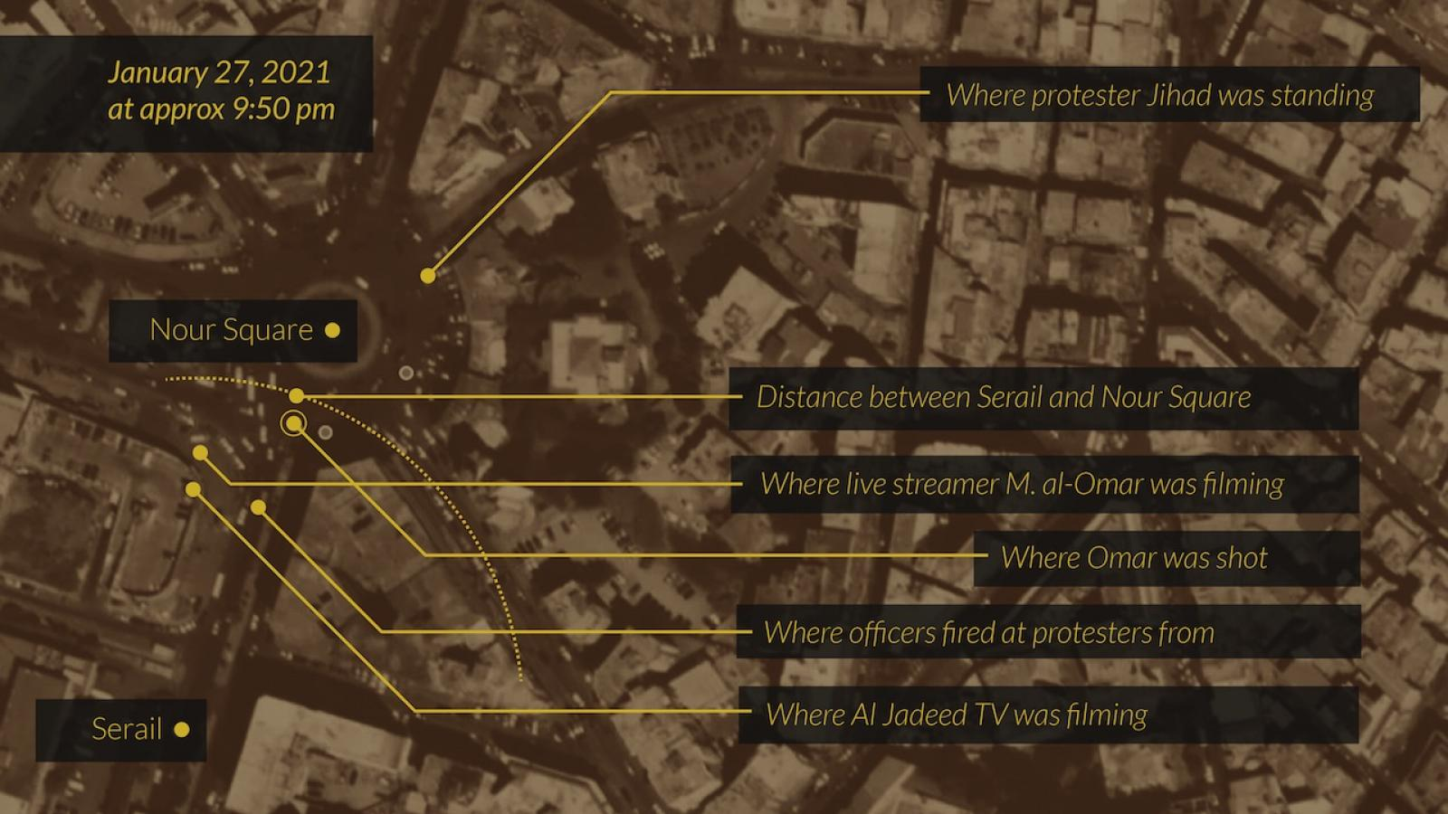 Map of Nour Square, at approximately 9:50 p.m. on the evening of January 27, when security forces fired live ammunition at protesters, showing locations of officers, television crew, a live streamer, and where eyewitnesses believe Omar was shot.